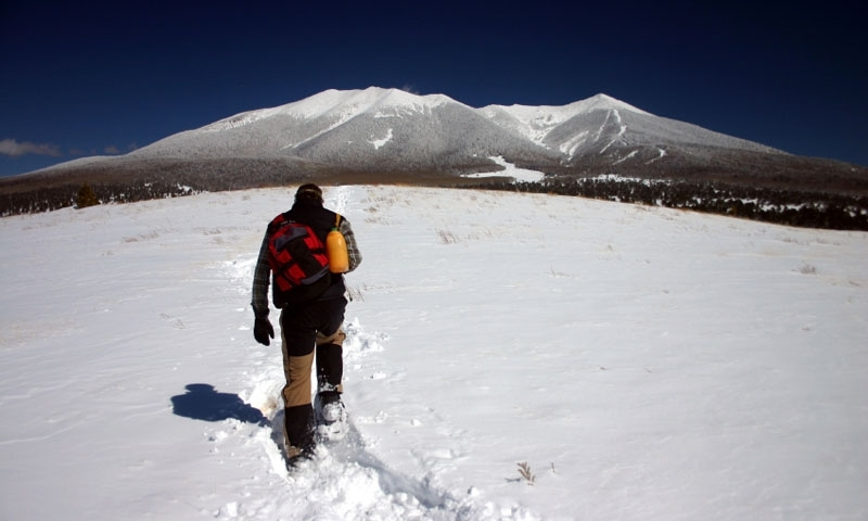 Snowshoeing toward the San Francisco Peaks in Flagstaff